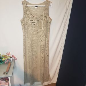 Cover Me beige open knit long Beach cover dress